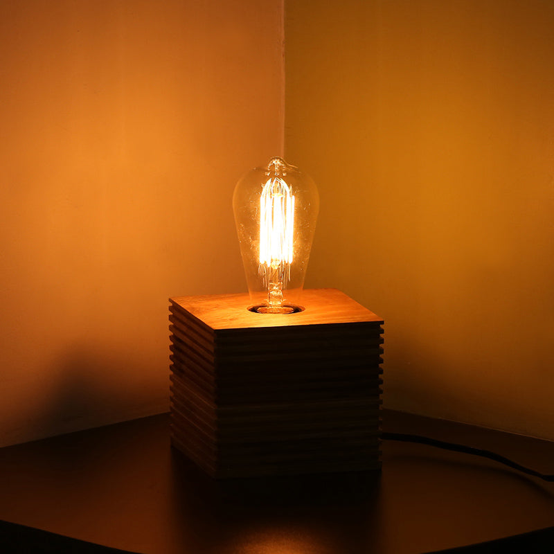''Edison'' Table Lamp In Mango Wood 4.4 inch