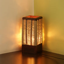 Load image into Gallery viewer, 'Criss-Cross Jute' Handwoven Table Lamp In Sheesham Wood (11 Inch)
