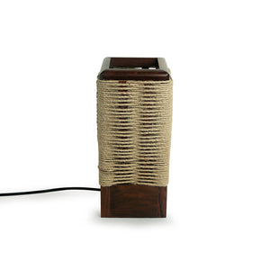 'Criss-Cross Jute' Handwoven Table Lamp In Sheesham Wood (11 Inch)