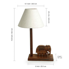 Load image into Gallery viewer, 'The Elephant Warriors' Hand Carved Table Lamp In Sheesham Wood (16 Inch)