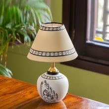 Load image into Gallery viewer, 'The Warli Tales' Hand-Painted Table Lamp In Terracotta (13 Inch, White)