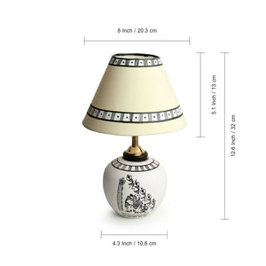 'The Warli Tales' Hand-Painted Table Lamp In Terracotta (13 Inch, White)