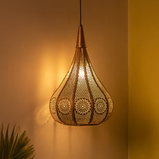 'Morrocan Flame' Hand-etched Pendant Lamp In Iron (13 Inch, Matte Finish)