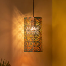 'Morrocan Waves' Hand-etched Pendant Lamp In Iron (14 Inch, Matte Finish)