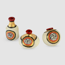 Load image into Gallery viewer, Terracotta Warli Handpainted Pots Natural White Set Of 3