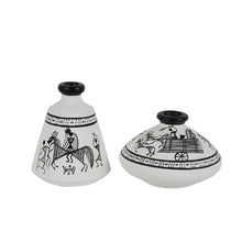 Load image into Gallery viewer, Terracotta Warli Handpainted Pots White Set Of 2