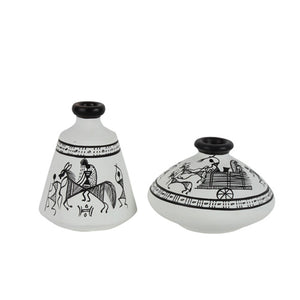 Terracotta Warli Handpainted Pots White Set Of 2