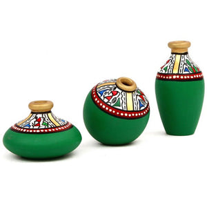 Terracotta Warli Handpainted Pots Green Set Of 3