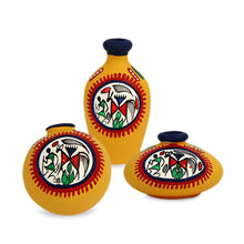 Load image into Gallery viewer, Terracotta Warli Handpainted Pots Yellow Set Of 3