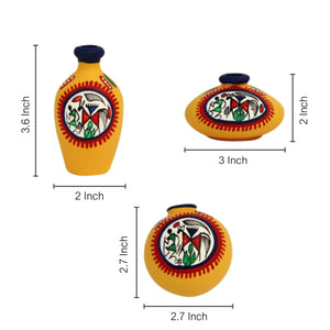 Terracotta Warli Handpainted Pots Yellow Set Of 3