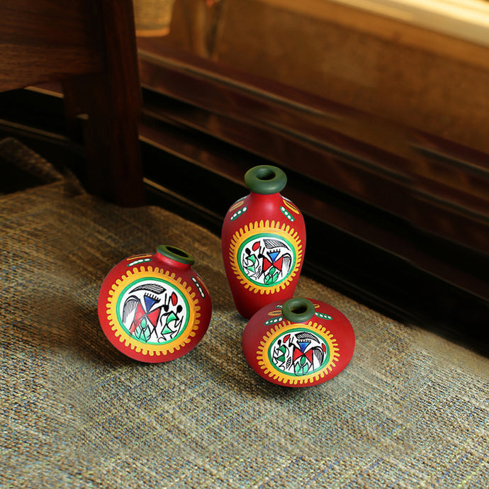 Terracotta Warli Handpainted Pots Red Set Of 3