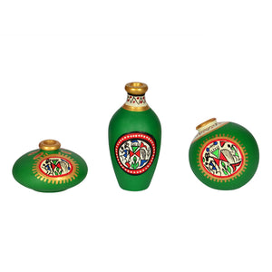 Terracotta Warli Handpainted Pots Bright Green Set Of 3
