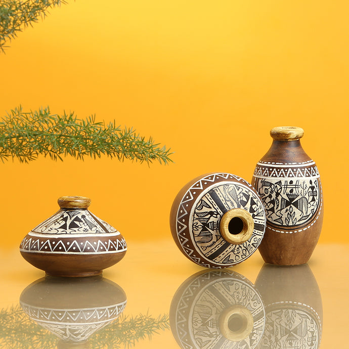 'Three Little Terracotta Pots' With Warli Hand-Painting In Natural Mud Brown (Set Of 3)