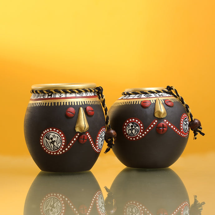 'Tribal Pot-Faces' In Terracotta (Set Of 2)