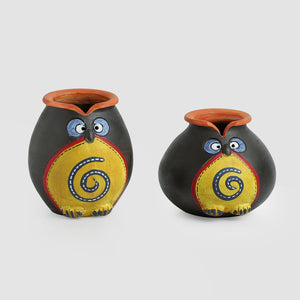 'Twin Owl Pot-Faces' In Terracotta (Set Of 2)