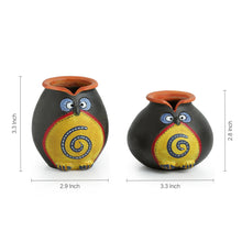 Load image into Gallery viewer, 'Twin Owl Pot-Faces' In Terracotta (Set Of 2)