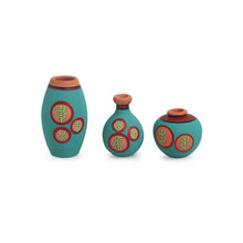 Load image into Gallery viewer, 'Desert Miniature Trio' Hand-Painted Miniature Pots In Terracotta (Set of 3, Turquoise Blue)