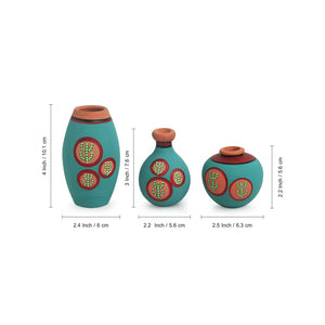 'Desert Miniature Trio' Hand-Painted Miniature Pots In Terracotta (Set of 3, Turquoise Blue)
