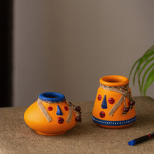 Load image into Gallery viewer, 'The Warli Tales' Hand-painted Miniature Pots In Terracotta (Set of 2, Orange)