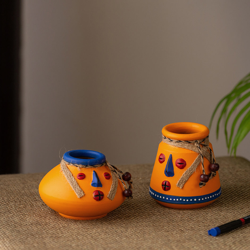 'The Warli Tales' Hand-painted Miniature Pots In Terracotta (Set of 2, Orange)