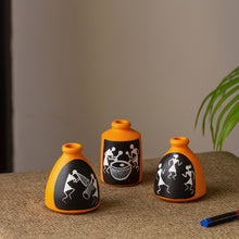 Load image into Gallery viewer, 'The Warli Tales' Hand-painted Miniature Pots In Terracotta (Set of 3, Orange)