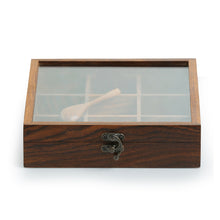 Load image into Gallery viewer, Sheesham Wood Square Spice Box With Spoon (9 Compartments)