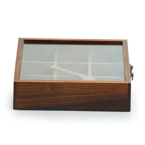 Sheesham Wood Square Spice Box With Spoon (9 Compartments)