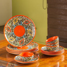 'Mughal Bagheecha' Hand-painted Ceramic Dinner Plates With Side/Quarter Plates & Dinner Katoris (12 Pieces, Serving for 4, Microwave Safe)