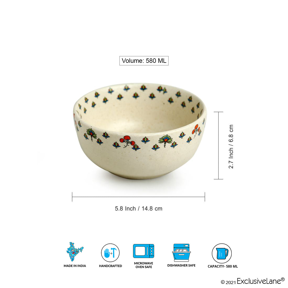 'Daawat-e-Taj' Handcrafted Ceramic Serving Bowls (Set of 2, 580 ml, Microwave Safe)