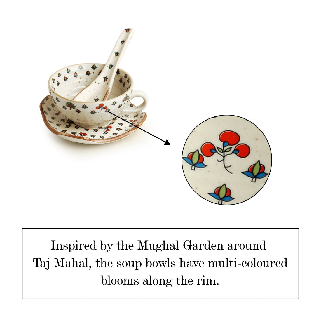 'Daawat-e-Taj' Handcrafted Ceramic Handled Soup Bowls With Saucers & Spoons (Set of 2, 220 ml, Microwave Safe)