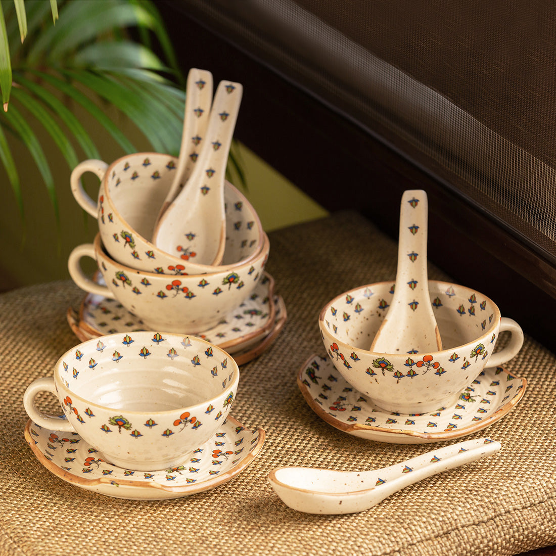 'Daawat-e-Taj' Handcrafted Ceramic Handled Soup Bowls With Saucers & Spoons (Set of 4, 220 ml, Microwave Safe)