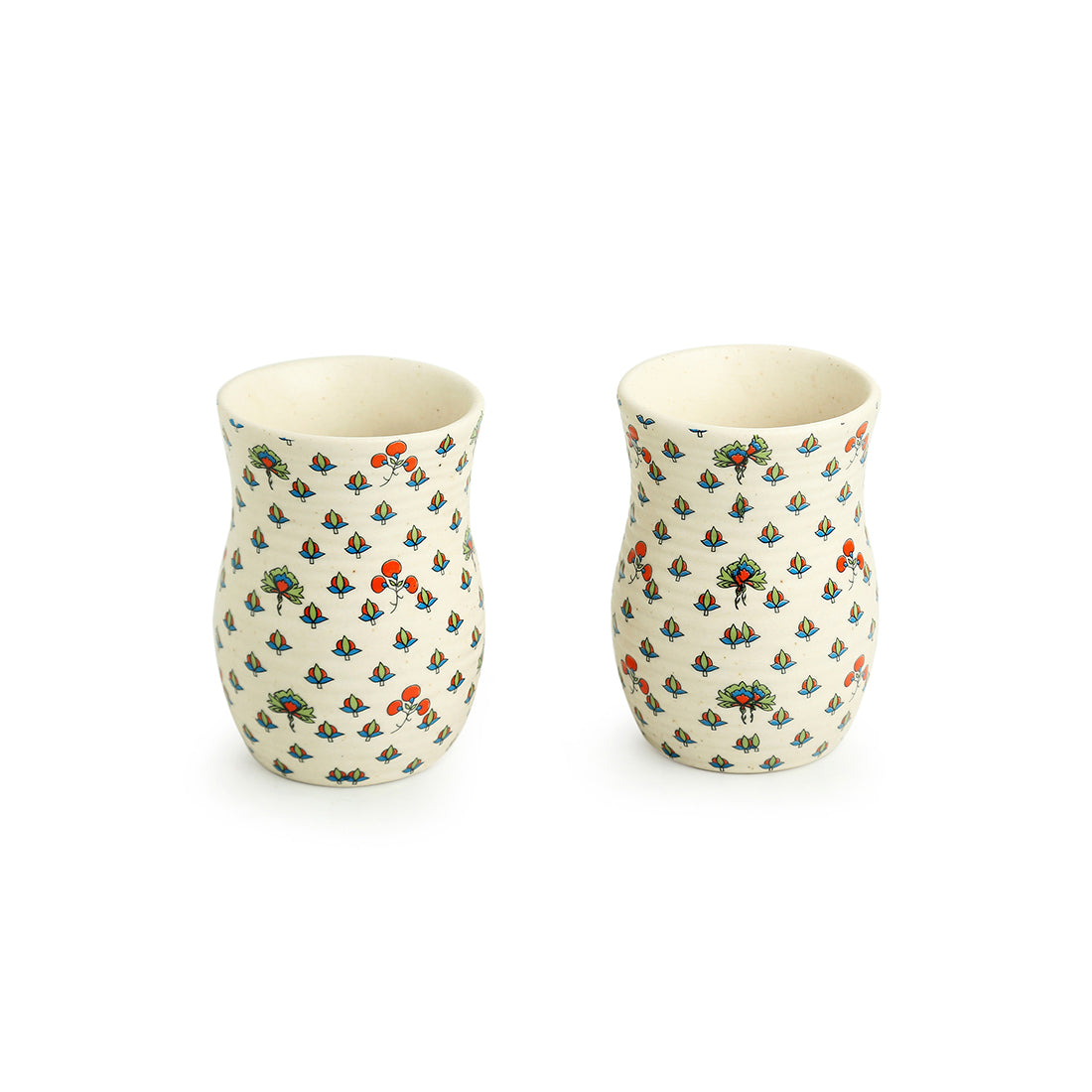 'Daawat-e-Taj' Handcrafted Ceramic Water & Milk Glasses ( Set of 2, 320 ml, Microwave Safe)