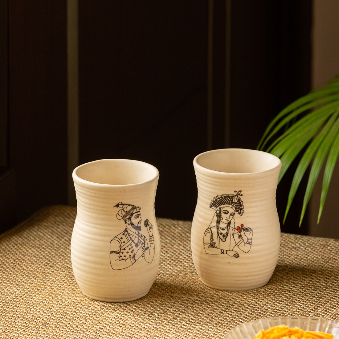 Daawat-e-Taj' Handcrafted Ceramic Water & Milk Glasses (Set of 2, 320 ml, Microwave Safe)