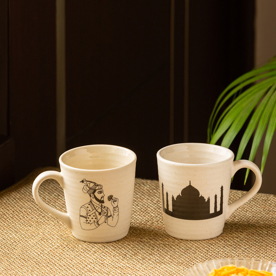 'Daawat-e-Taj' Handcrafted Ceramic Tea & Coffee Mugs (Set of 2, 260 ml, Microwave Safe)