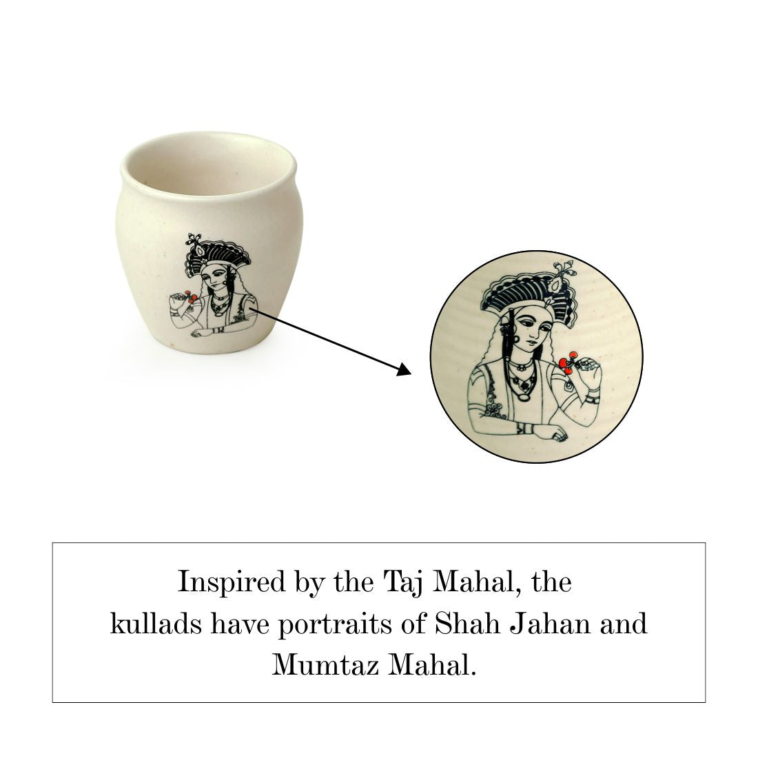 'Daawat-e-Taj' Handcrafted Ceramic Kullads (Set of 4, 160 ml, Microwave Safe)