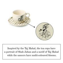Load image into Gallery viewer, 'Daawat-e-Taj' Handcrafted Ceramic Coffee-Tea Cups & Saucers (Set of 6, 160 ml, Microwave Safe)