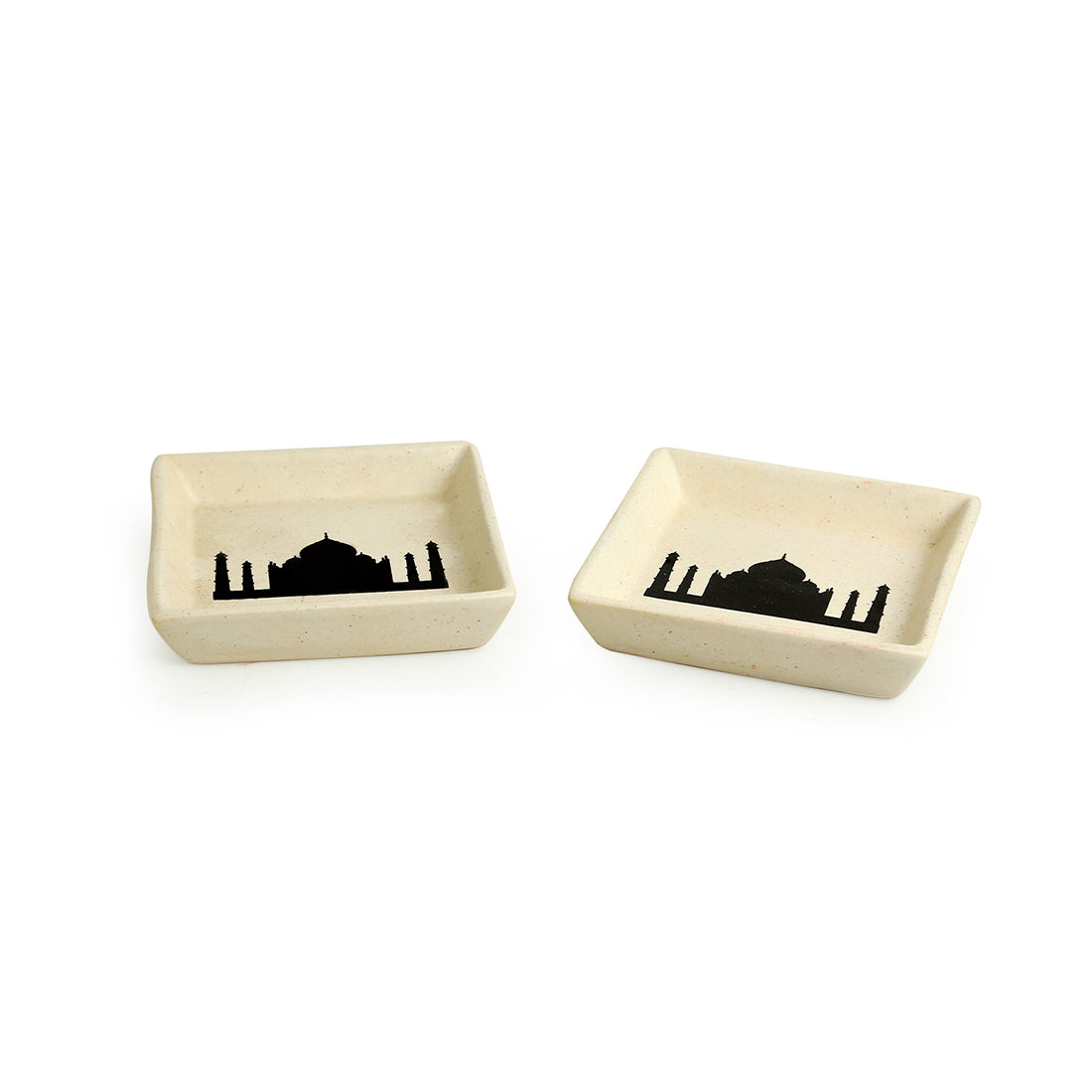 'Daawat-e-Taj' Handcrafted Ceramic Snacks Serving Platters (Small) (Set of 2, Microwave Safe)