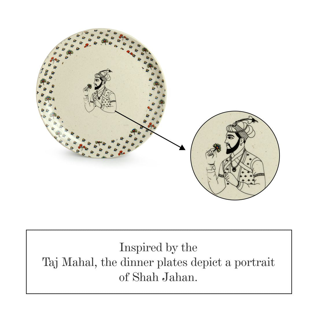 'Daawat-e-Taj' Handcrafted Ceramic Dinner Plates (Set of 4, Microwave Safe)