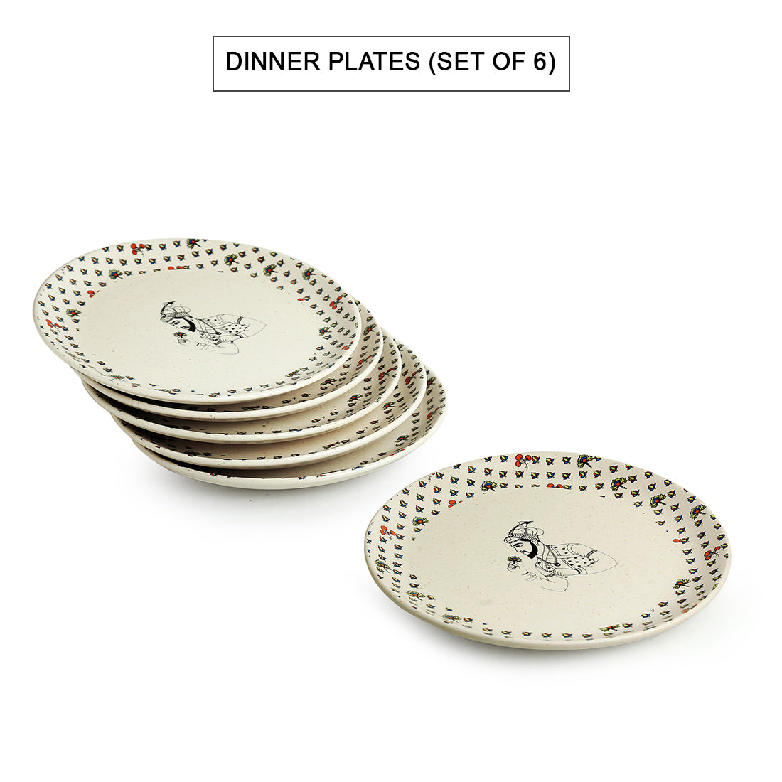 'Daawat-e-Taj' Handcrafted Ceramic Dinner Plates (Set of 6, Microwave Safe)