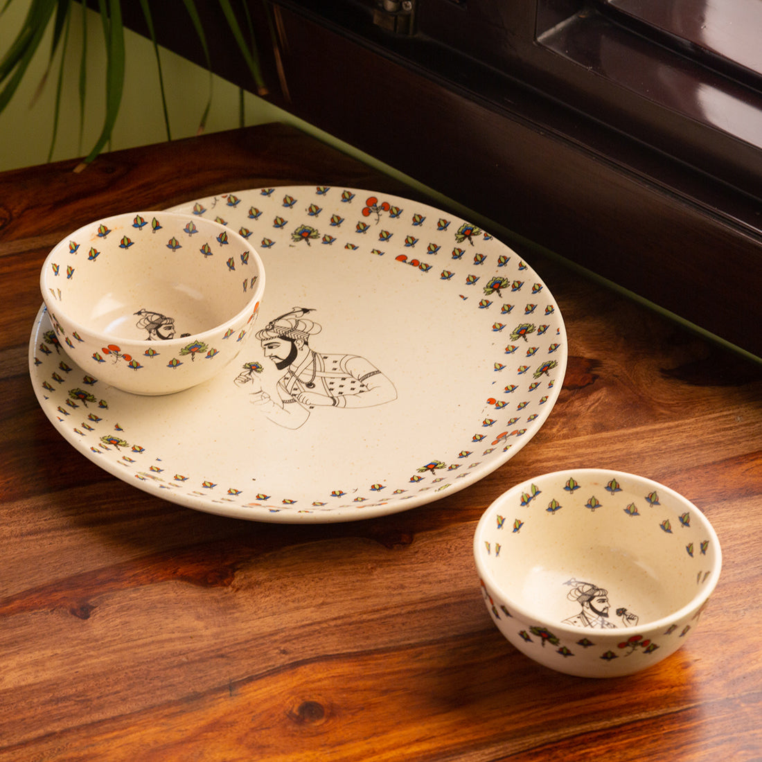 'Daawat-e-Taj' Handcrafted Ceramic Dinner Plate With Dinner Bowls/Katoris (3 Pieces, Serving for 1, Microwave Safe)