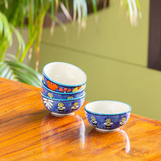'The Bee Collective' Hand-painted Ceramic Dining Bowl Katoris (Set Of 4, 150 ML, Microwave Safe)