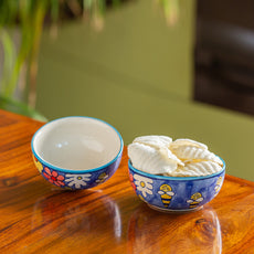 'The Bee Collective' Hand-painted Ceramic Serving Bowls (Set Of 2, 500 ML, Microwave Safe)