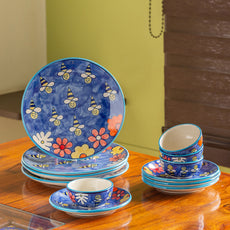 'The Bee Collective' Hand-painted Ceramic Dinner Plates, Side/Quarter Plates & Katoris (12 Pieces, Serving For 4, Microwave Safe)