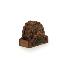 Load image into Gallery viewer, 'The Dancing Peacock' Hand Carved Coasters With Holder in Sheesham Wood (Set of 4)