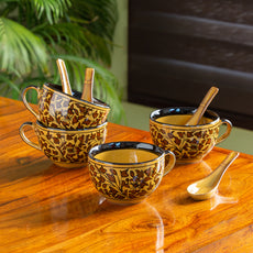 'Mughal Floral' Hand-painted Ceramic Soup Bowls With Spoons (Set Of 4, 380 ML, Microwave Safe)