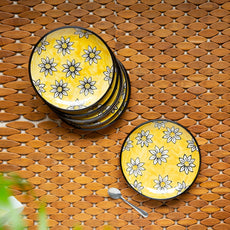 'Californian Sunflowers' Hand-Painted Ceramic Side/Quarter Plates (Set Of 6, 7 Inches)