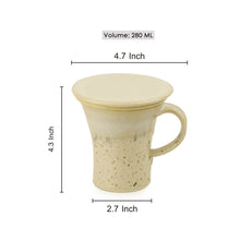 "Load image into Gallery viewer, Handcrafted ""Studio Pottery"" Green Tea Filter Mug In Creamish White"