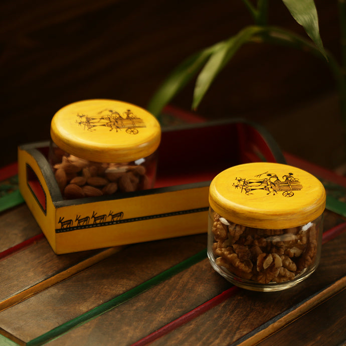 'Sunny Minimals' Warli Hand-Painted Snacks Jar Set In Glass With Wooden Tray
