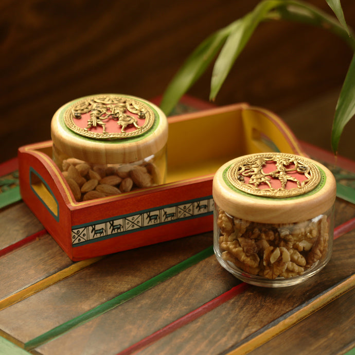 'The Tribe Vibe' Dhokra Snacks Jar Set In Glass With Warli Hand-Painted Wooden Tray