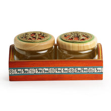 Load image into Gallery viewer, 'The Tribe Vibe' Dhokra Snacks Jar Set In Glass With Warli Hand-Painted Wooden Tray